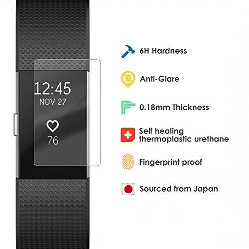 Fitbit Charge 2Protector de pantalla con alta calidad japonés película protección–6Pack–alta calidad, Super Fino, tamaño perfecto, fácil de instalar accesorios para el Fitbit Charge2