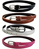Glamio Girl's PU Leather Belts Combo of 4 (Black,Brown ,White & Pink)(GLA/WOMENBELTS/BKBRWHPI)