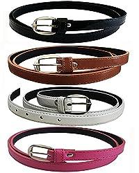 Glamio Girl's PU Leather Belts Combo of 4 (Black,Brown ,White & Pink)(GLA/WOMENBELTS/BKBRWHPI)