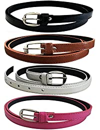 Glamio Girl's PU Leather Belts Combo of 4 (Black,Brown,White & Pink)(GLA/WOMENBELTS/BKBRWHPI)