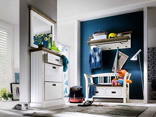 lifestyle4living Garderobe, Garderobenschrank, Garderoben-Set, Flurgarderobe, Garderobenmöbel, Dielenmöbel, Flurmöbel, massiv, Echtholt, massiver Akazie strukturweiß