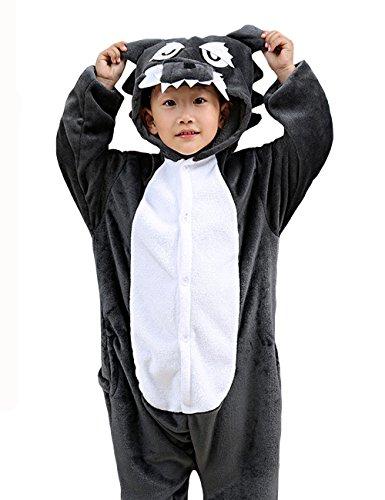 HONFONF Wolf Kinder Jumpsuit Kinder Onesies Anime Halloween Weihnachten Karneval Cosplay Kigurumi Outfit Kostüm Stück Anzüge (Molkerei Mädchen Kostüm)