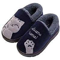 KVbabby Boys Girls Soft Plush Cute Cat Winter Slippers Warm Kids House Shoes Anti-Slip Slip On Cotton Outdoor Bedroom Slippers Womens Mens Blue