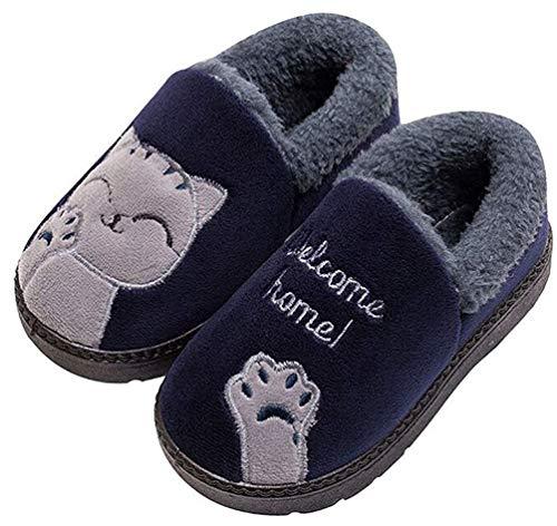 Zapatillas de Estar por casa Gato para niña niño Pantuflas Invierno Interior Suave Casa Caliente Zapatos Antideslizantes Peluche de Animales EU 27.5 / CN 30