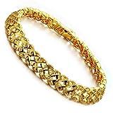 AnaZoz Schmuck Herren Mode Armband 18K Gold Vergoldet Panzerkette Armreif für Männer, Länge 21 CM (17,5cm Länge)