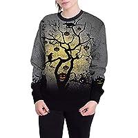 JYC Mujer Sudaderas Largas,Mujer Halloween Calabaza Impresión Largo Manga,Pullover Blusa Encapuchado Camisa de Entrenamiento