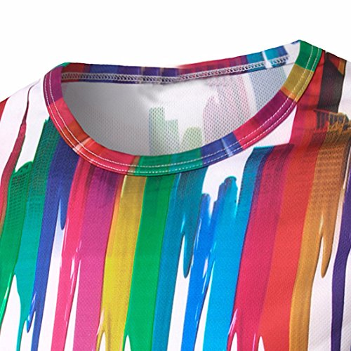 QIYUN.Z Männer Regenbogen Graffiti-Farbe Drucken Lange Hülsenblusen Weiß Lässige T-Shirts T-Stücke Stil 3