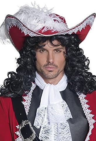Smiffys Déguisement Homme, Chapeau de pirate authentique, avec bord argenté et plumes, Taille unique, Couleur: Rouge, 36172
