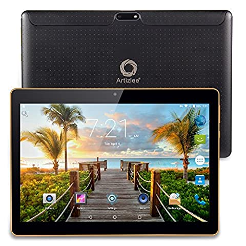 Artizlee 25,54 cm (10,1 Zoll) 3G Tablet-PC (Quad Core Prozessor 32-bits, 1GB RAM, 16GB eMMC, HD IPS Display, 3G Dual-sim, Android 4,4,2, Wi-Fi, WLAN, Neue version) Schwarz