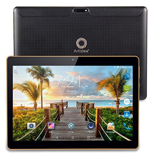 Artizlee ATL-21T - 10.1' Tablet Pc - Android 4.4.2, Quad-Core, 1280x800 IPS, Dual Sim, 3G, 1 GB RAM, 16 GB, Cámara 5.0MP, WiFi, Bluetooth, OTG, con Protector de Pantalla y Manual en Español, (Negro)