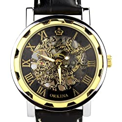 Orkina Mens Skeleton Hand-Wind Mechanical Dial Black Leather Strap Dress Wrist Watch