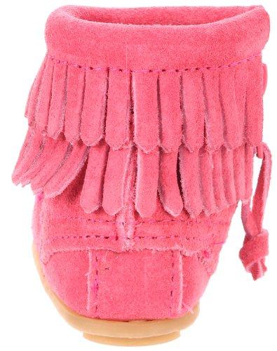 Minnetonka Baby Mädchen Doublefringebootie Lauflernschuhe Pink (Hot Pink / PINK)