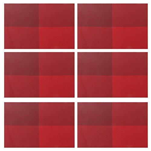 PVC Platzsets Famibay Plastik Tischsets Abwaschbar 6er Set Rutschfeste Kunststoff Platzdecken Waschbar Rot …