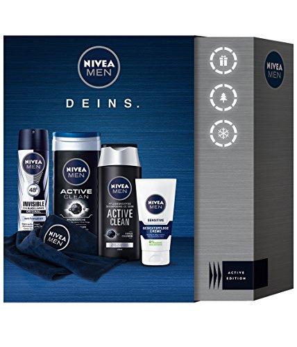 Nivea Men Active Clean Geschenkset mit Deodorant, Shampoo, Creme und Duschgel, 1er Pack (1 x 4 Stück)