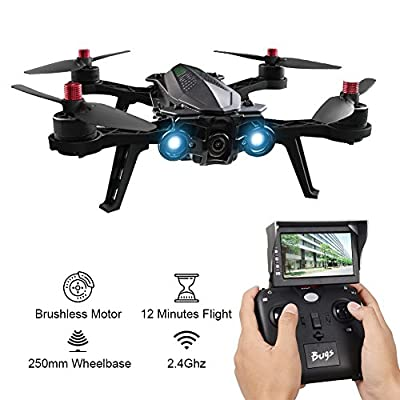 MJX Bugs 6 Racecane Profi Quadcopter Complete Set with 5.8G FPV Live Image Transfer Camera 2.4GHZ Two-way Remote Control D43 5.8G Receiver Display High Speed Motorless Brushless 4 Channel 6 Axis Gyro RC Quadcopter Drone from Xiaokesong