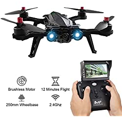 MJX Bugs 6 250mm racing drohne mit FPV Profi Quadrocopter Komplettset mit 5.8G FPV Live-Bild Übertragung Kamera 2.4GHZ Zweiwege Fernbedienung D43 5.8G Empfänger Display Hochgeschwindigkeitsmotor Bürstlos 4 Kanal 6 Axis Gyro RC Quadcopter Drone mit Garantie