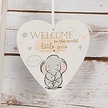 Cadeau pour bébé, plaque Disney en forme de cœur avec inscription «Bienvenue au monde tout petit (e)»