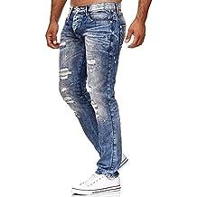 Redbridge Uomo Denim Jeans Straight Fit Usato Strappati Fori Casual Cotone  Moda Pantaloni eee2eb25c3bd