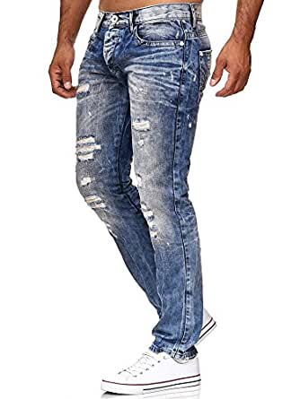 Red Bridge Herren Jeans Hose Destroyed Denim Röhrenjeans RB-157S Blau W29 L32