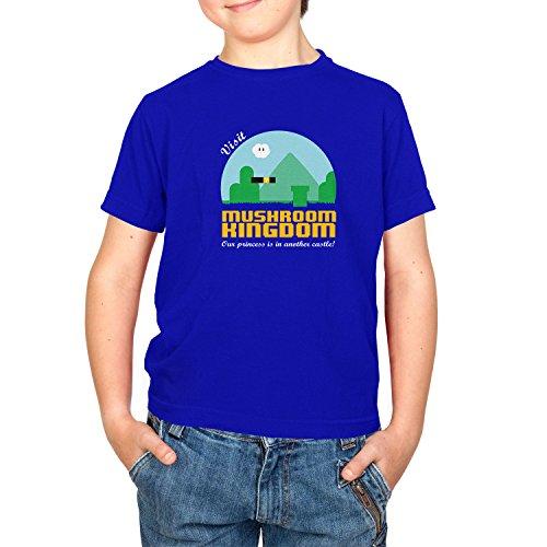 NERDO - Visit Mushroom Kingdom - Kinder T-Shirt, Größe XL, marine