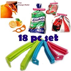 KBF Plastic Food Pouch Bag with Sealing Clips (Multicolour)