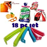 #2: KBF Plastic Food Pouch Bag with Sealing Clips (Multicolour)
