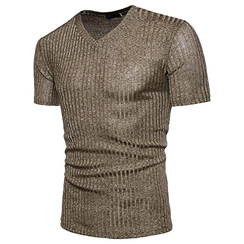EUZeo Herren Einfarbig V-Ausschnitt T-Shirts Pullover Kurzarm Casual Slim Fit Tops Tee
