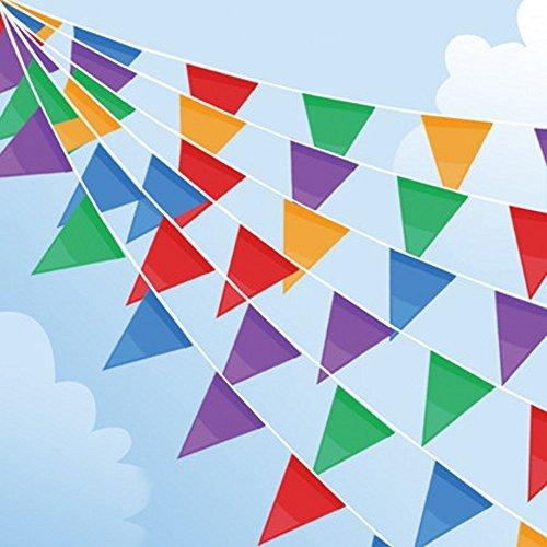 Joykey multicolore bandierina 200 bandiere nylon striscioni di bunting bandierine della decorazione triangolare per partito all'aperto giardino