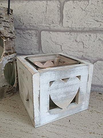 Vintage Style Tea Light Candle Holder Wooden Shabby Hearts Wedding
