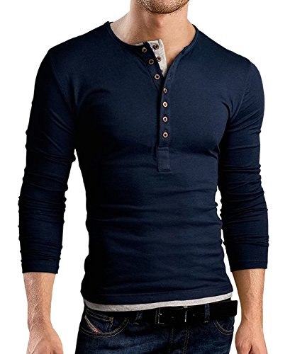 Long Sleeve Polo T Shirts for Men Casual Henley Shirt Plain Button Cotton V Neck Solid