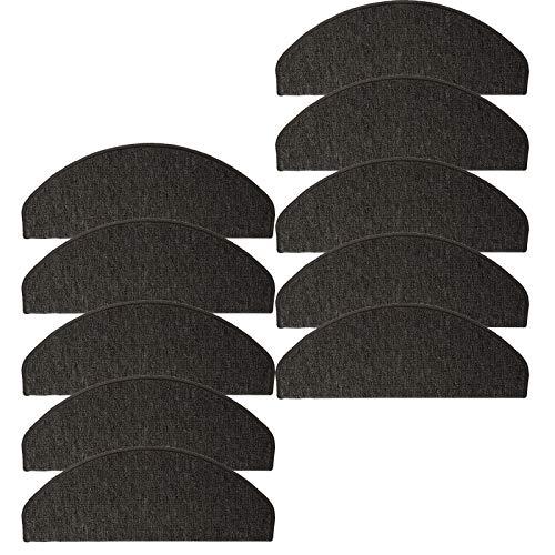 JEMIDI Stufenmatten Treppenmatten 64cm x 24cm mit geketteltem Rand und starker Befestigung (Anthrazit, 10)