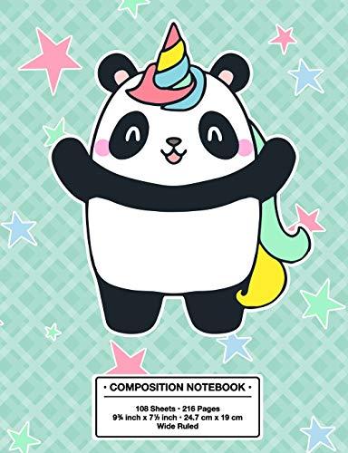 Composition Notebook: Back to School Fantastic Pandacorn Panda Unicorn Kawaii Style Wide Rule Lined Book