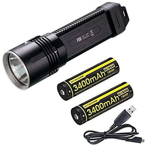 Combo: Nitecore P36 Tactical Flashlight CREE MT-G2 LED 2,000 Lumens w/2x NL1834R Batteries +Free Eco-Sensa USB Cable Peak Amp Batterie