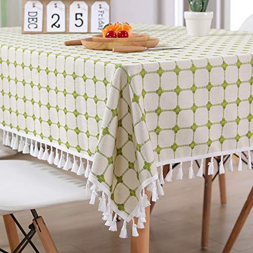 LANJ Home Cloth Esstisch Tischdecke Lattice Cotton Linen Coffee Tischdecke Antifouling Pflegeleicht Waschbar Mehrgrößenauswahl