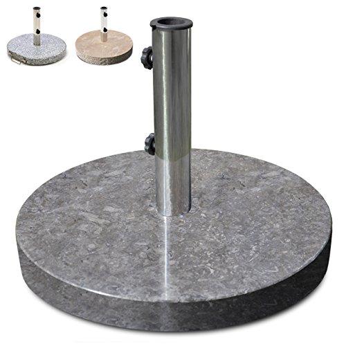 Nexos Schirmständer Sonnenschirmständer Marmor poliert rund Ø 50cm Steindicke 5cm 25kg Edelstahlrohr Reduzierring grau