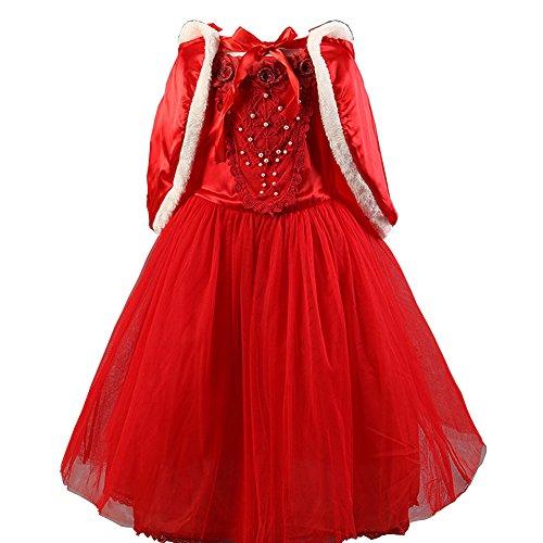 D'amelie Snowwhite Prinzessin Kinder Kleid Mädchen Kostüm Weihnachten Verkleidung Karneval Rollenspiele Party Halloween (Merida Kostüm Prinzessin)