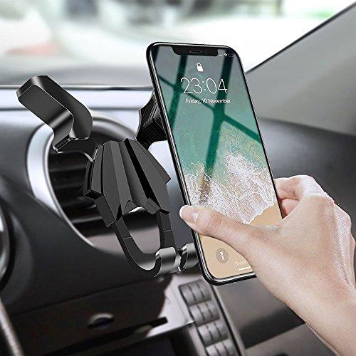 Universal Soporte Movil Coche, Migimi 360 grados Rotación Soporte de Smartphone para Rejillas de Ventilacion de Coche para iPhone 8 / 8 plus / 7 / 7 plus / 6 / 6s / 5s, Samsung Galaxy S9 / S8 / S7 / S6 / S5 Nota 4 / Huawei, LG, HTC y Dispositivo GPS - Negro