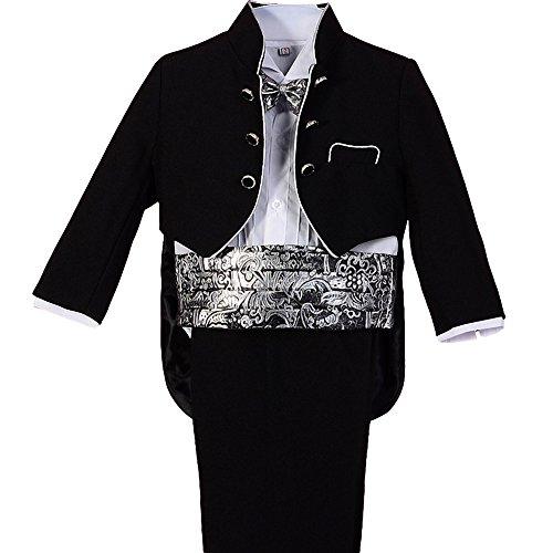 Lito Angels Baby Jungen 5 Stück set Jacquard Formale Anzug Jungen Tuxedo Page Boy Anzug Hochzeit Outfit Gr. 9-12 Monate Schwarz