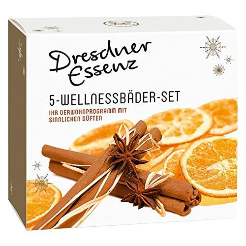 Dresdner Essenz 5-er Set Pflegebäder mit winterlichen Düften Badezusatz Badesalz Badeessenz Hautpflege