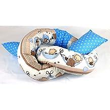 Baby Bettschlange Nestchen Lagerungskissen Crazy Birds Hellblau Tupfen 150-210 Cm