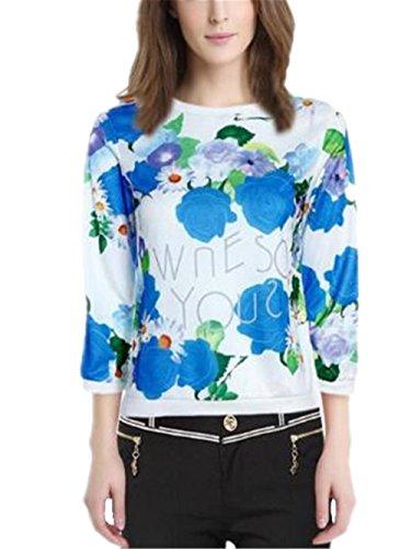 T-Shirt Donna Blusa Manica Lunga Taglie Forti Maglia Elegante E Casual Con Stampa Floreale Rotondo Collo Elegante Moda Basic Casual Classico Blue
