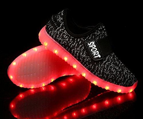 ECO TISH Breath LED Light Up Schuhe USB USB Aufladen LED leuchtend Turnschuhe Sneaker Walking Schuhe für Kinder Jungen Mädchen Schwarz