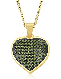 "Silvernshine 1.20 Ct Pave Set Peridot Heart Pendant With 18"" Chain 14K Yellow Gold Fn 925 Silver"