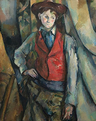 Spiffing Prints Paul Cézanne - Boy in A Red Waistcoat - Extra Large - Semi Gloss - Brown Frame