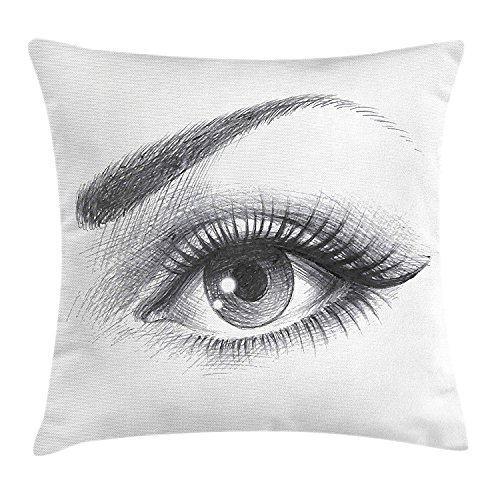 ziHeadwear Eye Throw Pillow Cushion Cover, Pencil Drawing Artwork of a Staring Female Eye with Long Lashes and a Curvy Eyebrow, Decorative Square Accent Pillow Case, 18 X 18 Inches, Grey White - Eye Pencil Plum