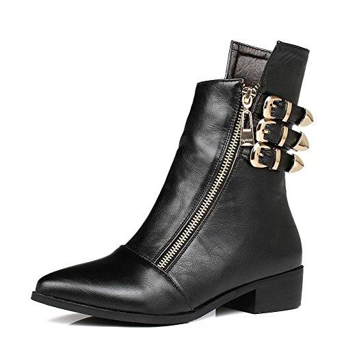 AllhqFashion Damen Schnüren Niedriger Absatz Niedrig-Spitze Stiefel mit Metallisch, Grau, 40