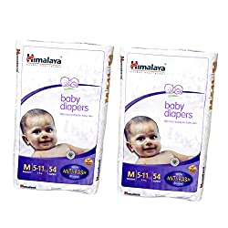 Himalaya Baby Medium Size Diapers (54 Count) Pack of 2