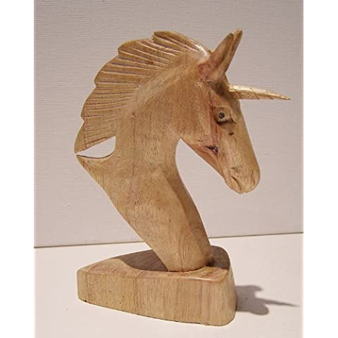Unicorn inciso, motivo: testa di cavallo, 12 cm di altezza, commercio equo e solidale - Testa Di Cavallo Carving
