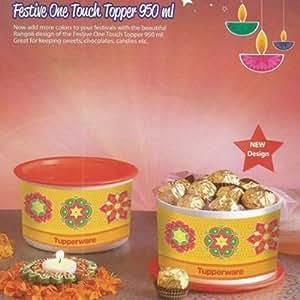 Tupperware One Touch Topper 950 ml 2 pcs (Multi colour-Rangoli)