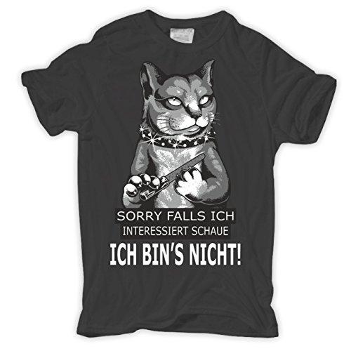 Männer und Herren T-Shirt Falls ich interessiert schaue ICH BIN'S NICHT Körperbetont grau